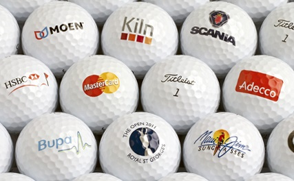 Golfballs with various logotypes